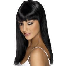 Women's Girls Black Glamourama Wig Long Straight Fringe Katy Perry Fancy Dress