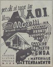 Y3586 Tende da Campo Ettore Moretti - Pubblicità d'epoca - 1937 old advertising