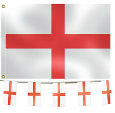 England Bunting & Flag Pack -10m Bunting / 5'x3' Large Fabric Flag St George