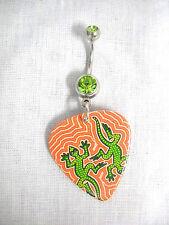 ABORIGINAL ART 2 GREEN GECKO / LIZARDS GUITAR PICK ON LIME GREEN CZ BELLY RING