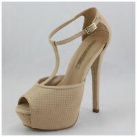 Buffalo High Heels Gr. 40 Echtleder T-Strap Pumps Peep Toes beige (#3436)