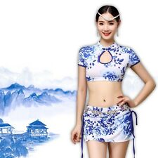 Belly Dance Costume blouse+short skirt with safty shorts 2pcs set blue and white