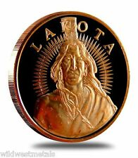 Lakota Crazy Horse .999 Pure Fine Rounds Bullion - 1 oz. Copper Collector's Coin