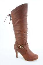 NEW Dress Mid-Calf Knee High Platform Round Toe Lace up Zipper Boots Size