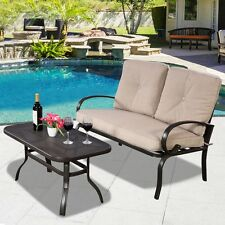 2 Pcs Patio Outdoor LoveSeat Coffee Table Set Furniture Bench With Cushion Us
