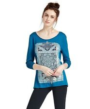 Lucky Brand - Womens S - NWT - Blue Intricate Rug Open Back Graphic Tee/T-Shirt