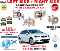 FOR SEAT LEON ST 5F8 ESTATE 2013> REAR LEFT + RIGHT BRAKE CALIPERS WITH PADS SET