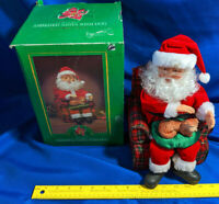 "Vintage in Box Animated Xmas Santa w/Dog Musical 16"" Battery Op Plaid Recliner"