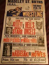 More details for vintage wrestling poster 30x20. hull 1970s. kendo nagasaki, adrian street