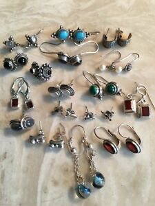 Lot 17 sterling small earrings turquoise,birds,mother of pearl,bk onyx,pearl etc