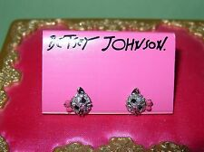 NWT Betsey Johnson Little Kitten Cat w/pink bow Crystals stud earrings