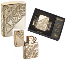 GOLDEN SCROLL Heavy Wall Armor Case GOLD PLATED Multicut ZIPPO neu+ovp LIMITED