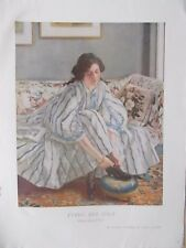 VINTAGE 1930 COLOUR PRINT - TYING HER SHOE - WALTER RUSSELL
