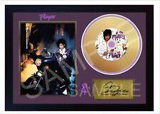 Prince Purple Rain Mini Gold Vinyl CD Record Signed Framed Photo Print