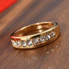 Made with Swarovski White Crystal Half Eternity Band Ring Size O