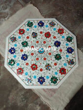 "20"" Marble Coffee Table Top Lapis Lazuli Marquetry Inlay Home Decor"