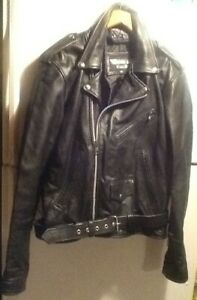 Vintage Bikers Club Mens Black Leather Motorcycle Jacket Sz 46 Terminator Style