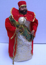 "Vtg Mardi Gras Royal Red King 15+"" Christmas Window Display Table / Tree Topper"