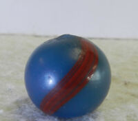 #12765m Vintage German Handmade Blue Base Banded Opaque Marble .68 Inches NM