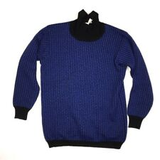RODIER France Women's Small VINTAGE VTG Blue Black Sweater Wool Blend Top c5