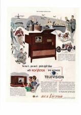 VINTAGE 1948 RCA VICTOR CONSOLE TELEVISION TV RADIO FAMILY FOOTBALL  AD PRINT
