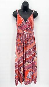 GARNET HILL Women's Orange Paisley Twisted Strap Tank Stretch Maxi Dress Sz XS