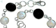 Sterling SILVER Bracelet, Multi Gems Genuine Moonstone Black Onyx 925 Jewellery