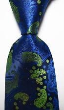 New Classic Paisley Dark Blue Yellow JACQUARD WOVEN 100% Silk Men's Tie Necktie