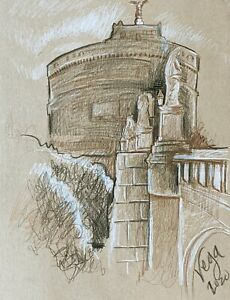 Architecture Pencil Drawing Sepia Europe Sculpture - ACEO Print 2 of 10