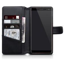 Genuino Real Cuero Billetera Estuche Para Nokia 7 Negro-Plus