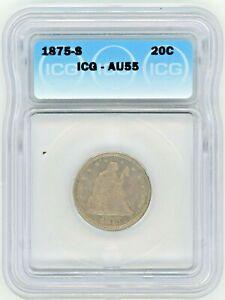1875-S 20c QUARTER ICG AU55