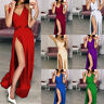 Side Slit Evening Dresses Sexy Satin Deep V Neck Backless Maxi Prom Party Dress