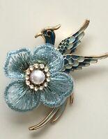 Unique Bird flower  Brooch Pin in enamel on gold tone metal