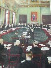 ANTIQUE PRINT THE FIVE POWER CONFERENCE HELD IN LONDON POLITICS 1935 VINTAGE ART