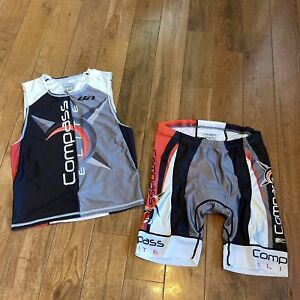 Louis Garneau Compass Elite 2 Piece Cycling Outfit White Red Black XL(M)/ 3XL(W)