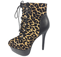 Womens Ladies Leopard Print Faux Leather High Heel Shoes Ankle Boots Size 7 New