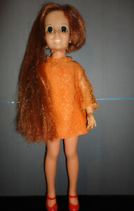 Vintage IDEAL CRISSY doll, Auburn growing hair,Original orange lace dress,1968.