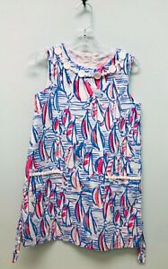 Lilly Pulitzer Size 8 Little Classic Shift Dress Red Right Return Sailboat