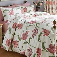 FLORAL PINK PURPLE CREAM COTTON BLEND SINGLE 3 PIECE BEDDING SET