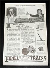 1925 OLD MAGAZINE PRINT AD, LIONEL ELECTRIC TRAINS, THE STANDARD OF THE WORLD!