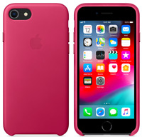 Apple iPhone 8/7/SE 2020 Echt Original Leder Hülle Leather Case - Rosa Fuchsia
