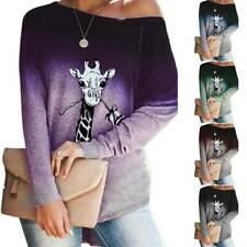 Womens T Shirts One Shoulder Blouse Long Sleeve Tee Tops Gradient Loose Casual