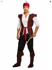 Pirate Caribbean Man Costume Halloween Adult Mens Fancy Dress Jack Sparrow NEW