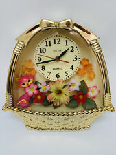 Vintage Wall Clock Flower Power Kitsch Gold With Cute Kitty Cat Diorama Retro