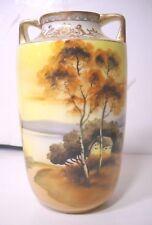 Nippon 7 inch Hand Painted Scenic Gilt Handled Vase Morimura Mark circa 1910's