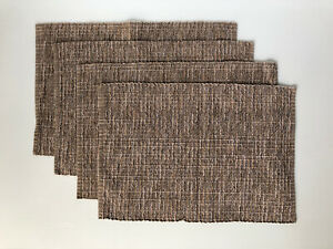 100-percent Cotton Two-tone Woven Place mats Set of 4 Natural Beige Tan