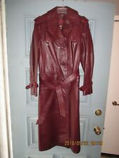 Women's Vintage Clothing Etienne Aigner Coat size10 Burgundy Genuine Leather
