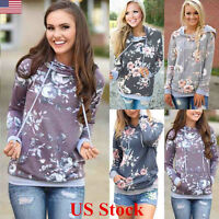 Women Ladies Long Sleeve Hoodie Floral Pullover Sweatshirt Sweater Casual Jumper