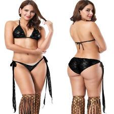 Women Metallic Mermaid Scale Halter Bra Bikini Set Side Tie Swimwear Underwear