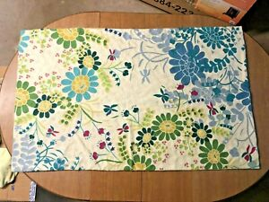 Anthropologie RUG hand stitched  3 x 5 vivid florals summer spring wall hanging